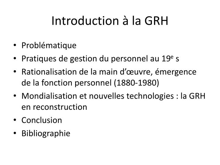 Introduction la grh