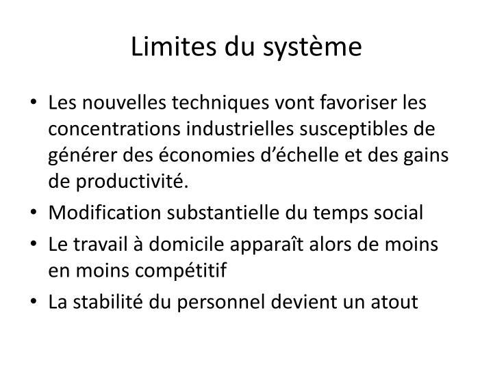 Limites du système