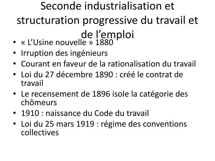Seconde industrialisation et structuration progressive du travail et de l'emploi