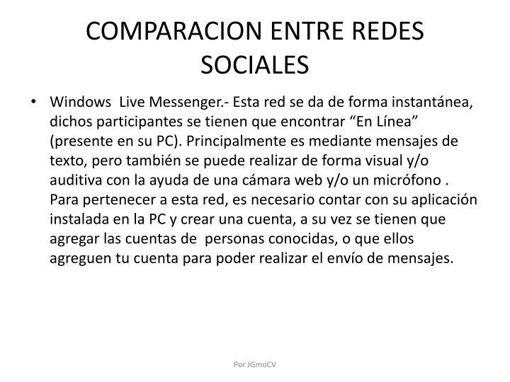 COMPARACION ENTRE REDES SOCIALES