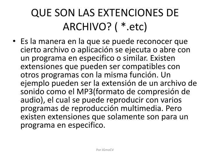 QUE SON LAS EXTENCIONES DE ARCHIVO? ( *.etc)