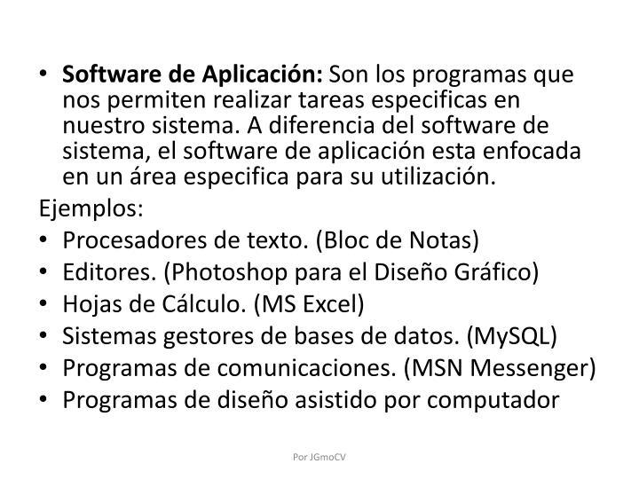 Software de Aplicación: