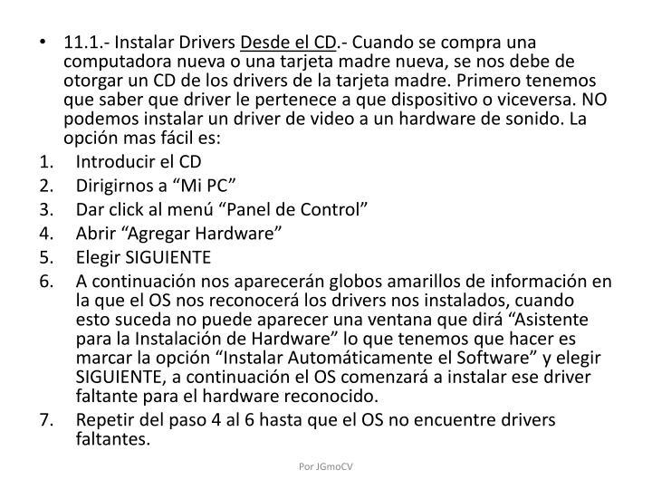 11.1.- Instalar Drivers