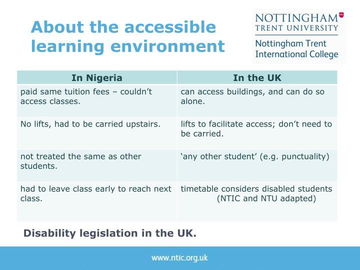 About the accessible learning environment