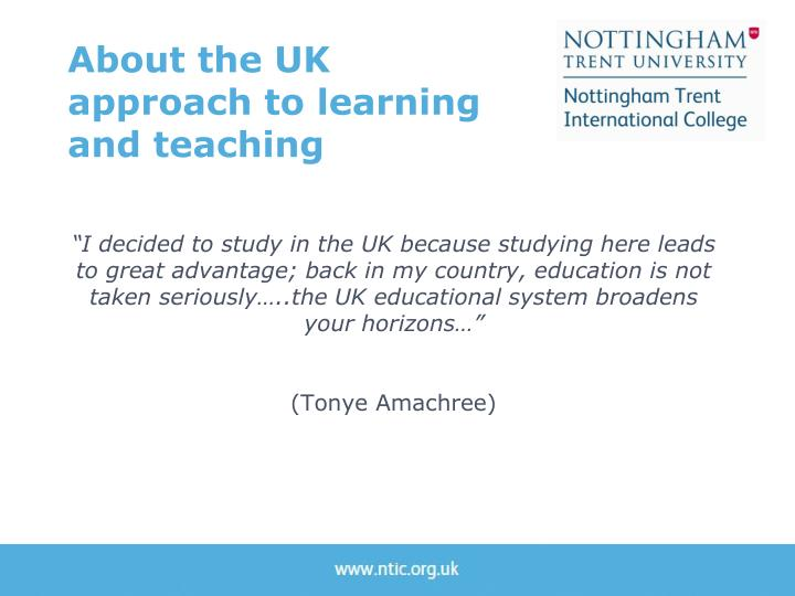 About the UK approach to learning and teaching