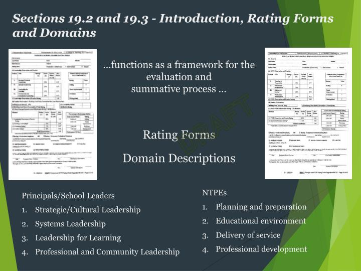 Sections 19.2 and 19.3 - Introduction, Rating Forms and Domains