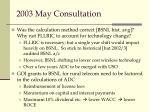 2003 may consultation