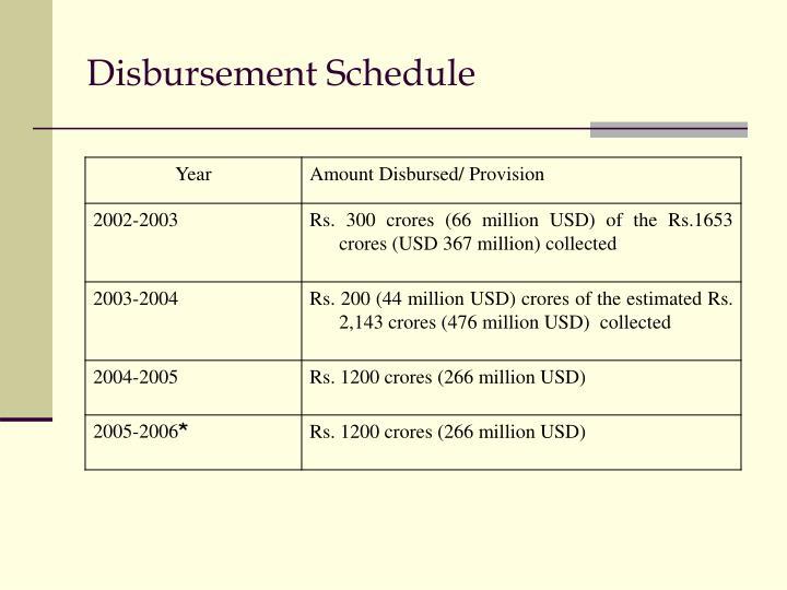 Disbursement Schedule