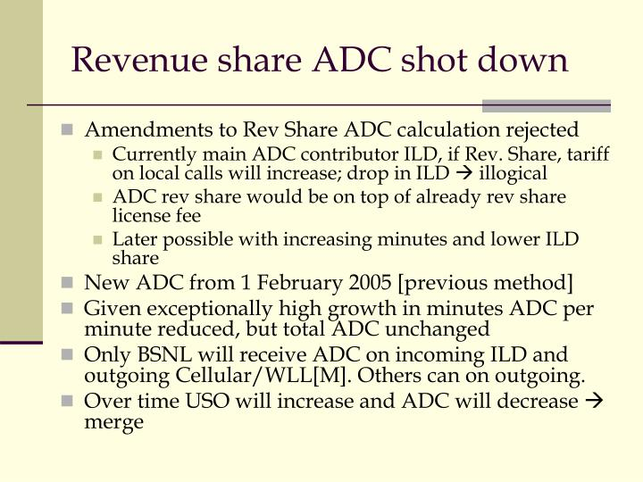 Revenue share ADC shot down