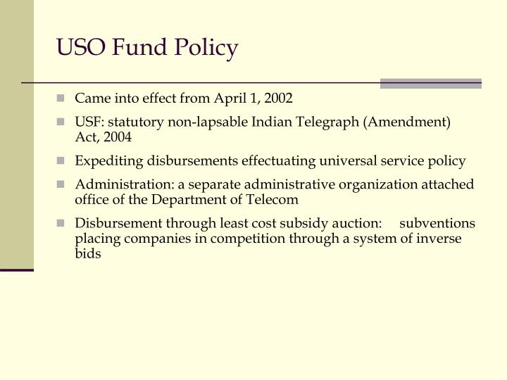 USO Fund Policy