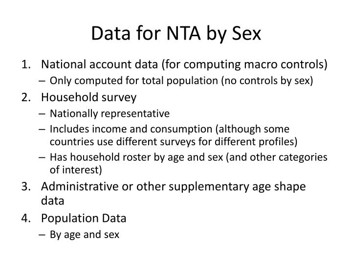 Data for NTA by Sex