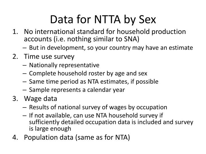 Data for NTTA by Sex