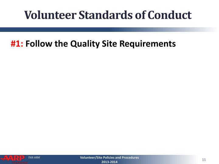 Volunteer Standards of Conduct