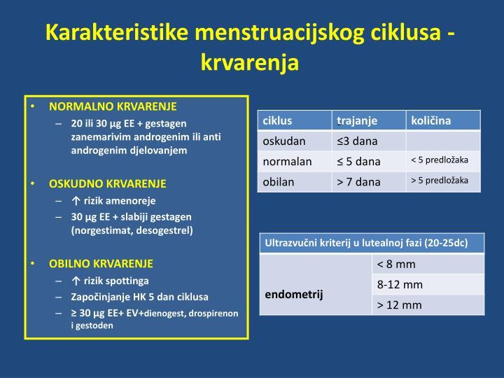 Karakteristike menstruacijskog ciklusa -  krvarenja