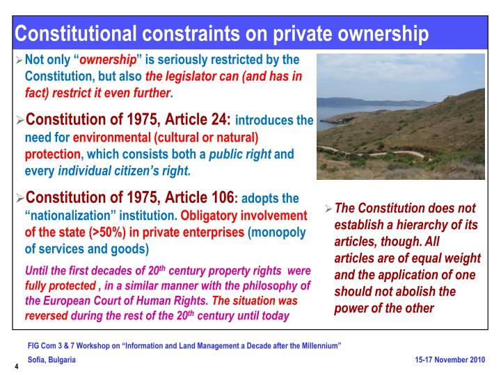 Constitutional constraints on private ownership