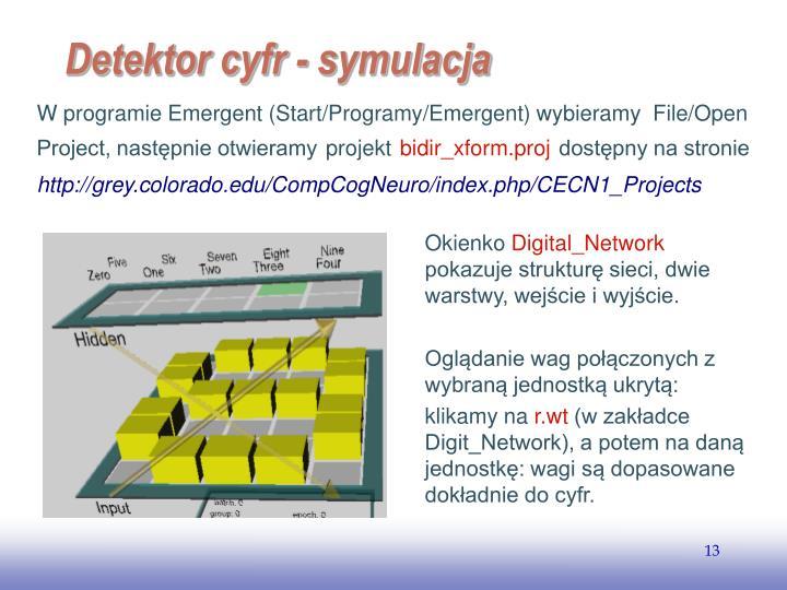 W programie Emergent (Start/Programy/Emergent) wybieramy  File/Open Project, następnie otwieramy