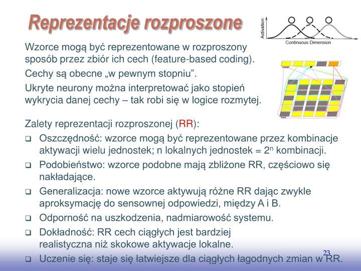 Wzorce mogą być reprezentowane w rozproszony sposób przez zbiór ich cech (feature-based coding).