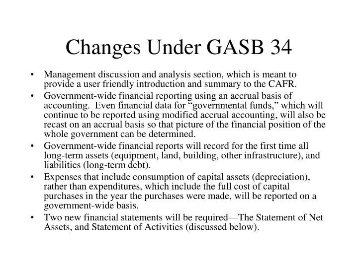Changes Under GASB 34