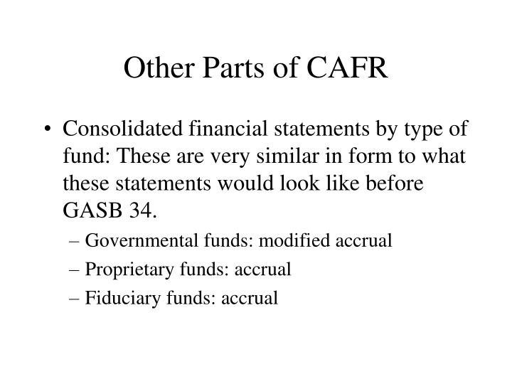 Other Parts of CAFR