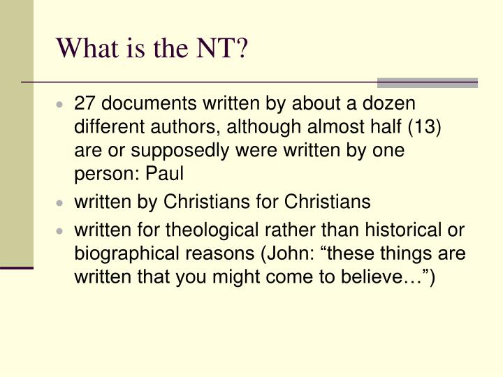 What is the NT?