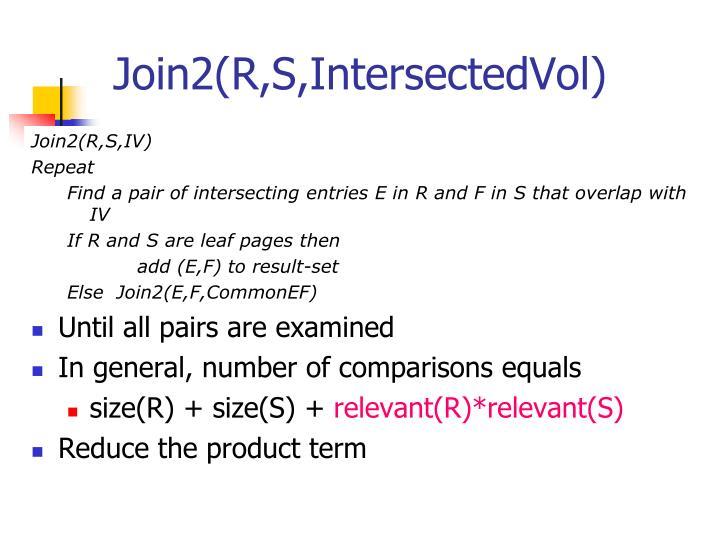 Join2(R,S,IntersectedVol)