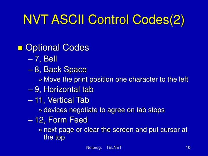 NVT ASCII Control Codes(2)