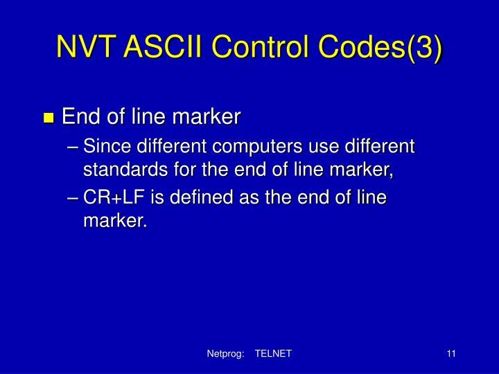 NVT ASCII Control Codes(3)
