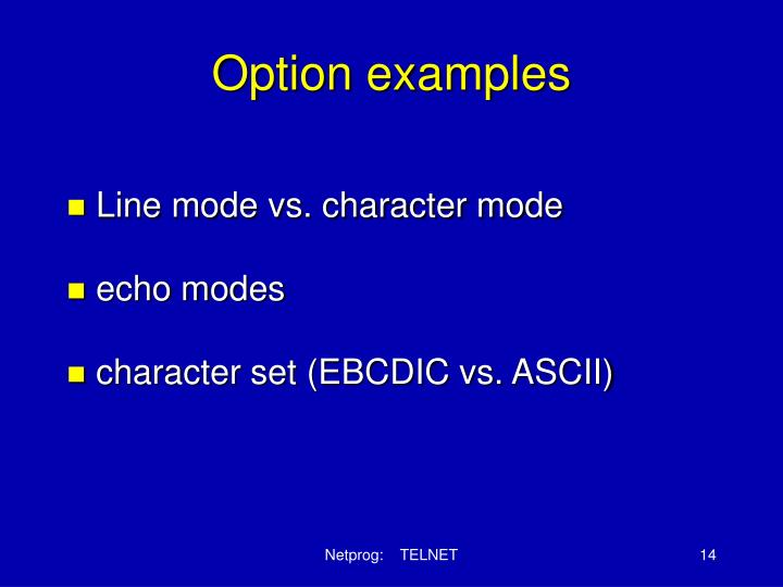 Option examples