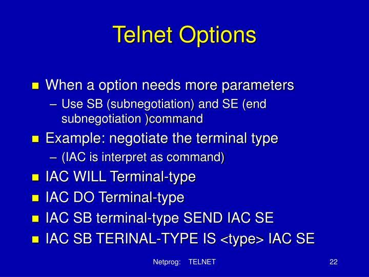 Telnet Options