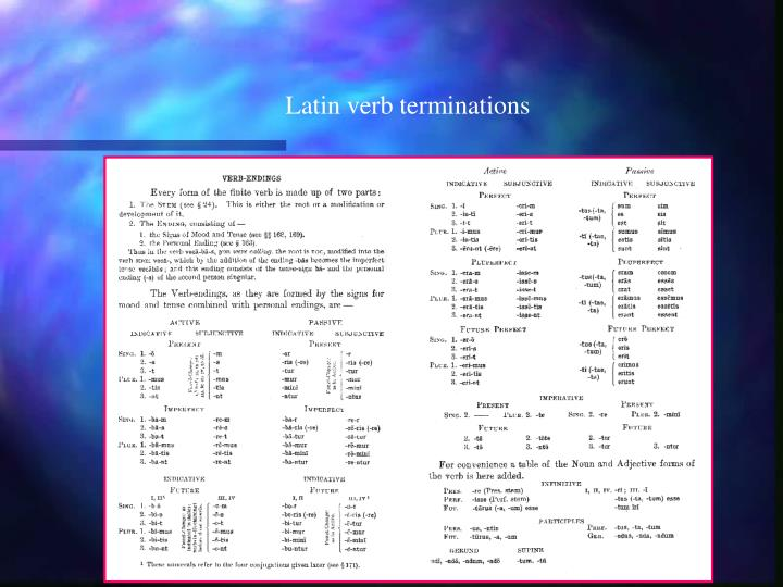 Latin verb terminations