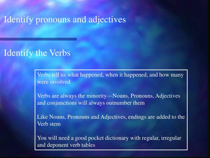 Identify pronouns and adjectives