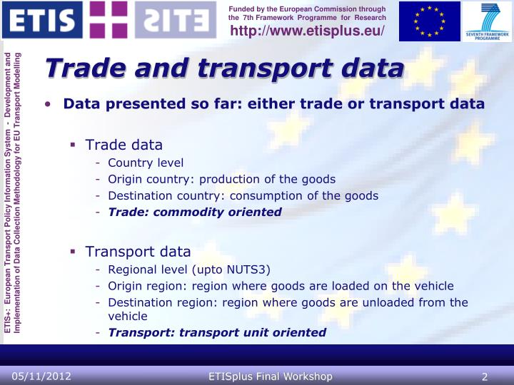 Trade and transport data