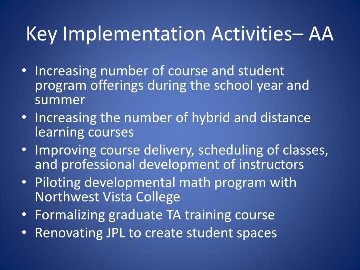 Key Implementation Activities– AA