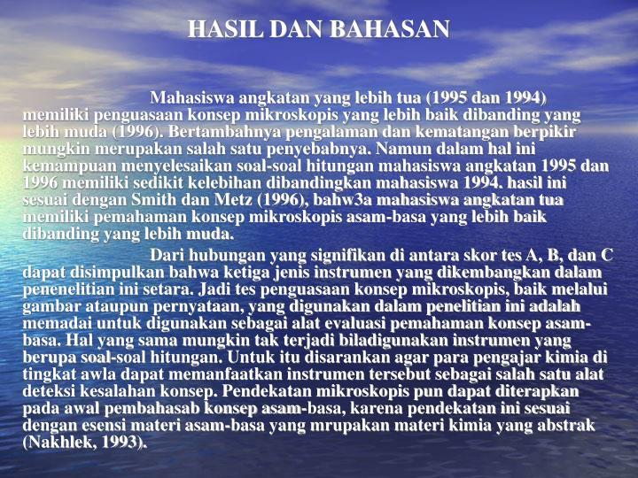 HASIL DAN BAHASAN