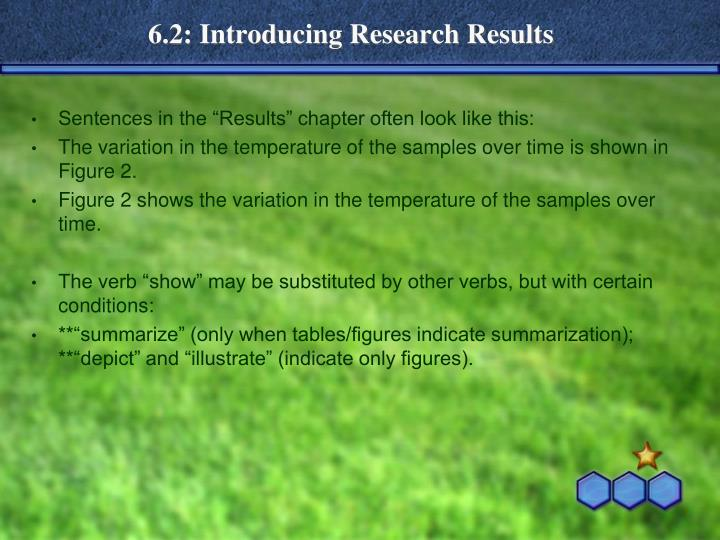 6.2: Introducing Research Results