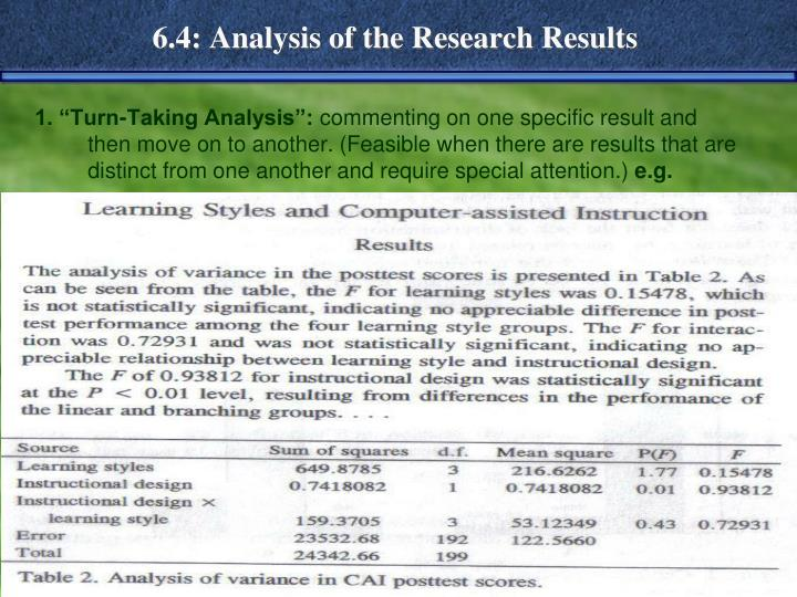 6.4: Analysis of the Research Results
