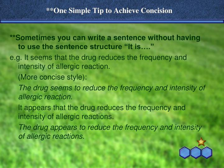 **One Simple Tip to Achieve Concision