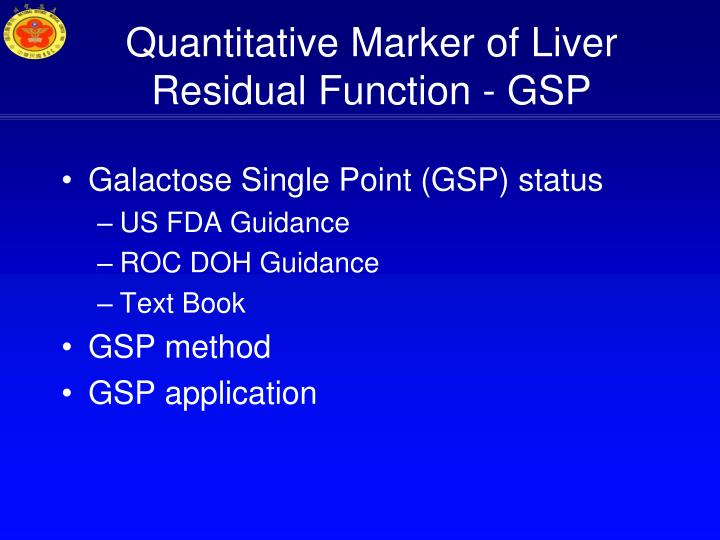 Quantitative Marker of Liver Residual Function - GSP