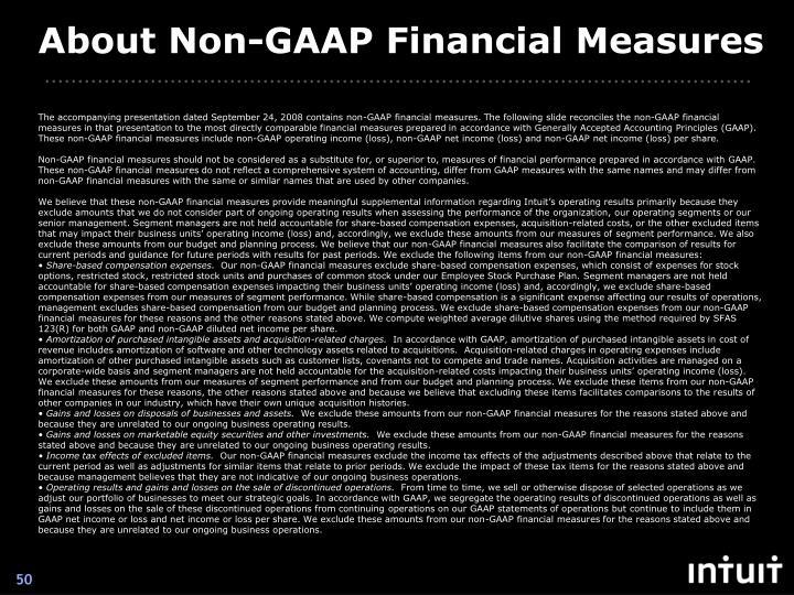 About Non-GAAP Financial Measures