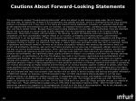 cautions about forward looking statements