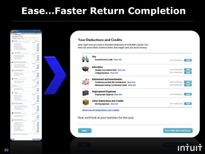 Ease…Faster Return Completion