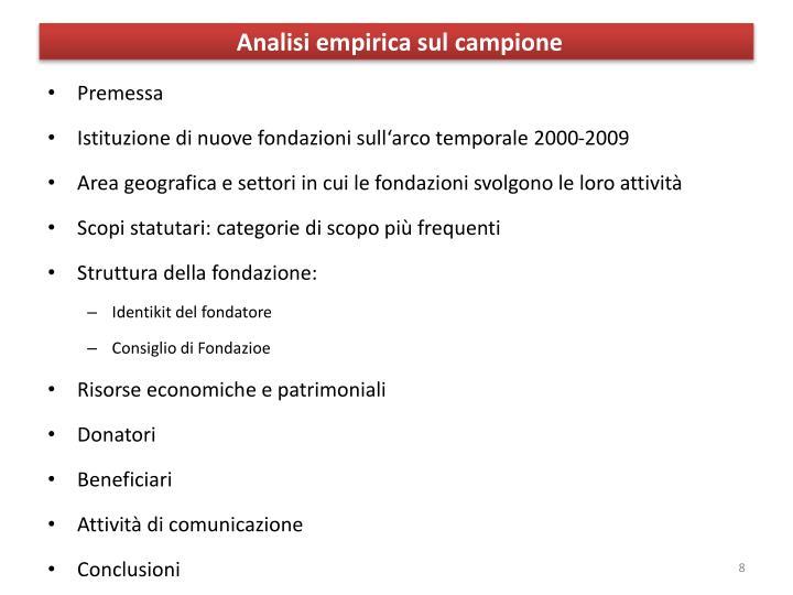 Analisi empirica sul campione