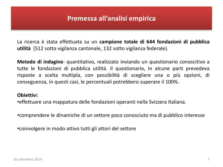 Premessa all'analisi empirica