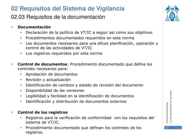 02.03 Requisitos de la documentación
