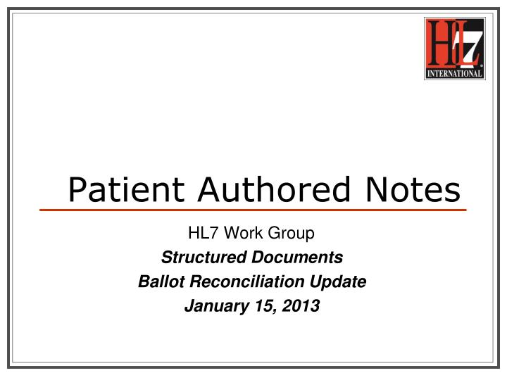 Patient authored notes