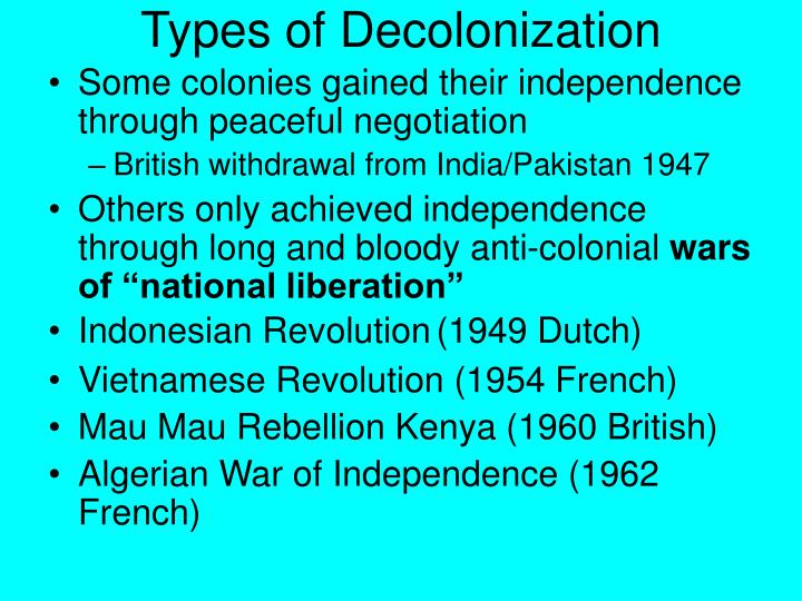 Types of Decolonization