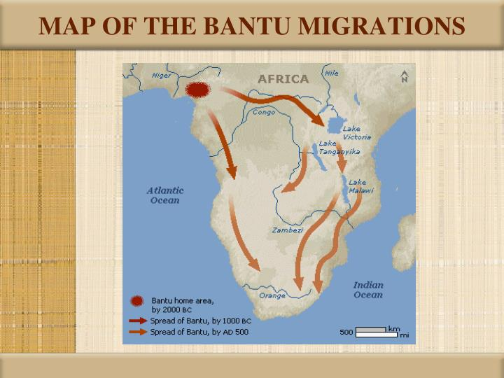 MAP OF THE BANTU MIGRATIONS