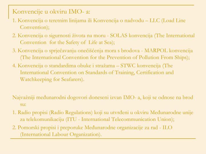 Konvencije u okviru IMO- a: