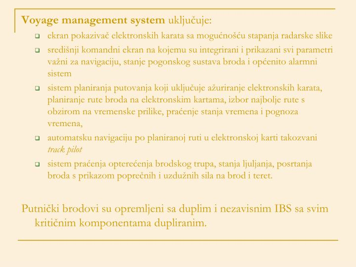 Voyage management system