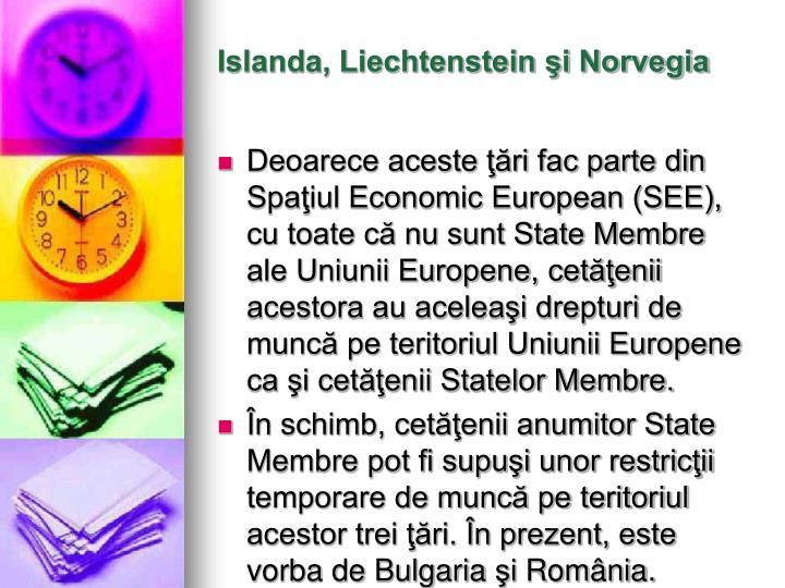 Islanda, Liechtenstein şi Norvegia